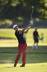 May 25, 2018 - Fort Worth, TX, USA - FORT WORTH, TX - MAY 25, 2018 - Kevin Na hits his approach to the 6th hole during the second round of the 2018 Fort Worth Invitational PGA at Colonial Country Club in Fort Worth, Texas (Credit Image: © Erich Schlegel via ZUMA Wire)