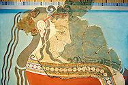 Mycenaean Fresco wall painting  of an elborately dressed women in a procession  from the Tiryns, Greece. 14th - 13th Century BC. Cat No 5883 Athens Archaeological Museum. .<br /> <br /> If you prefer to buy from our ALAMY PHOTO LIBRARY  Collection visit : https://www.alamy.com/portfolio/paul-williams-funkystock/mycenaean-art-artefacts.html . Type -   Athens    - into the LOWER SEARCH WITHIN GALLERY box. Refine search by adding background colour, place, museum etc<br /> <br /> Visit our MYCENAEN ART PHOTO COLLECTIONS for more photos to download  as wall art prints https://funkystock.photoshelter.com/gallery-collection/Pictures-Images-of-Ancient-Mycenaean-Art-Artefacts-Archaeology-Sites/C0000xRC5WLQcbhQ