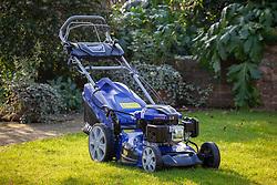 A petrol lawn mower