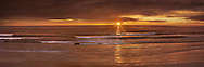 """A Golden Sunset For The Golden State, The Truly """"Pacific"""" Ocean On This Evening As Waves Roll Across The Long Wide Beach Near San Diego, California, USA"""
