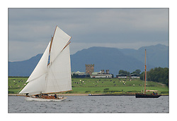 Viola, a 49' gaff Cutter off Roseneath point passing a scene reminicent of it's creation in 1908...This the largest gathering of classic yachts designed by William Fife returned to their birth place on the Clyde to participate in the 2nd Fife Regatta. 22 Yachts from around the world participated in the event which honoured the skills of Yacht Designer Wm Fife, and his yard in Fairlie, Scotland...FAO Picture Desk..Marc Turner / PFM Pictures