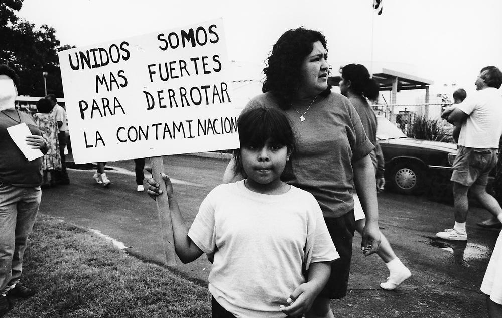 ©1992 PROTEST AGAINST GASOLINE TANK FARM in east Austin, Texas Hispanic neighborhood rallies against leaking storage tanks.  EH-0030