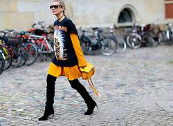 Street style, Celine Aagaard arriving at Freya Dalsojo Spring Summer 2017 show held at Borsen, in Copenhagen, Denmark, on August 10, 2016. Photo by Marie-Paola Bertrand-Hillion/ABACAPRESS.COM    558625_005 Copenhagn Danemark Denmark