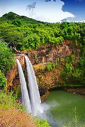 Wailua Falls, 173 foot drop, Wailua, Kauai, Hawaii