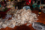 Stall selling mushrooms in a food market in Thailand