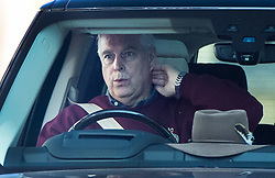 © Licensed to London News Pictures. 19/09/2020. Windsor, UK. Prince Andrew, Duke of York, drives from Windsor Castle. The Duke is under renewed pressure to talk to the FBI regarding his dealings with Jeffrey Epstein after the convicted financier's Chef Adam Perry Lang started to cooperate with US authorities .Photo credit: Peter Macdiarmid/LNP