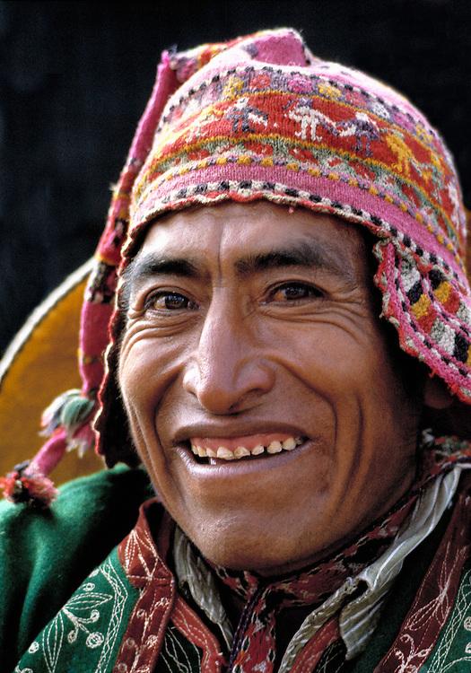 Dressed in a colorful Inca costume, an Indian man celebrates at the annual Inti Raymi Festival in Cuzco, Peru.