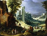 View of Forum, Rome, with ruins of temple of Castor and Pollux and the Basilica of Maximus.   Shepherds, swineherds and cattle drovers and their beasts bring their flocks to the pool and water trough in the centre.Artist Paul Brill (1554-1626). Private Collection.