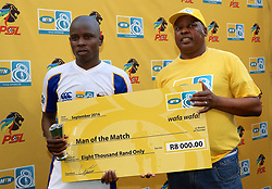 Man of the Match Strydom Wambi of Chippa United during the 1st leg of the MTN8 Semi Final between Chippa United and Mamelodi Sundowns held at the Nelson Mandela Bay Stadium in Port Elizabeth, South Africa on the 11th September 2016<br /><br />Photo by: Richard Huggard / Real Time Images