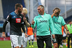 Derby County manager Nigel Pearson gives instructions to Richard Keogh and Will Hughes as the players leave the pitch at half time - Mandatory by-line: Matt McNulty/JMP - 16/08/2016 - FOOTBALL - Deepdale - Preston, England - Preston North End v Derby County - Sky Bet Championship