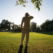 A cricket player stands in the sun watching the game unfold in London Fields Park in East London, United Kingdom,Sept 11 2016.  (photo by Kristian Buus/In Pictures via Getty Images) The park has got it's own cricket team and matches are held regularly on the pitch in park.