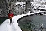 Winter in Plitvicka jezera (Plitvice lakes) national park, a UNESCO World Heritage Site, Croatia