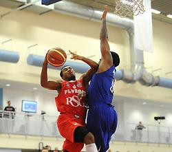 Bristol Flyers' Dwayne Lautier-Ogunleye is fouled by Durham Wildcats' Joel Madourie - Photo mandatory by-line: Dougie Allward/JMP - Mobile: 07966 386802 - 18/10/2014 - SPORT - Basketball - Bristol - SGS Wise Campus - Bristol Flyers v Durham Wildcats - British Basketball League