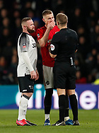 Scott McTominay of Manchester United complains to referee Craig Pawson observed by Wayne Rooney of Derby Countyduring the FA Cup match at the Pride Park Stadium, Derby. Picture date: 5th March 2020. Picture credit should read: Darren Staples/Sportimage