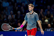 Dominic Thiem of Austria looks dejected during the Nitto ATP World Tour Finals at the O2 Arena, London, United Kingdom on 13 November 2018.Photo by Martin Cole