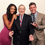 ESPN and SEC Network talent Maria Taylor, Brent Musburger and Jesse Palmer pose for a promotional photo at the sports network's Charlotte studio. ©Travis Bell Photography