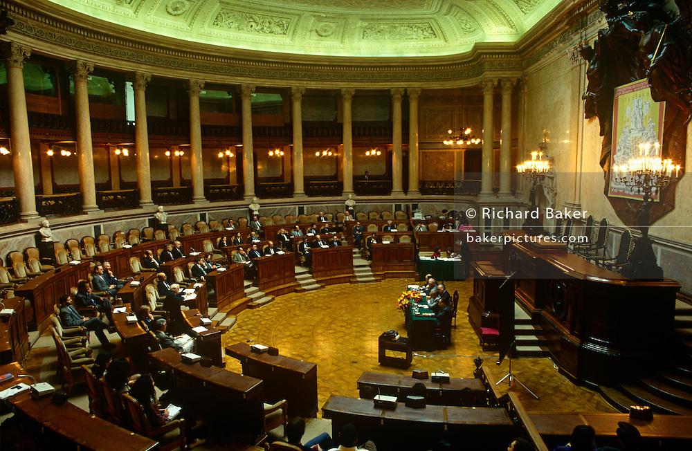 The Portuguese parliament in session from inside the Palacio de Sao Bento in Estrela District, Lisbon.
