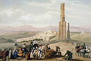 First Anglo-Afghan War 1838-1842: Ghanzi: fortress, citadel and remains of 2 minarets. Changed hands a number of times during hostilities. From Atkinson 'Afghanistan' London c1850. Hand-coloured lithograph.