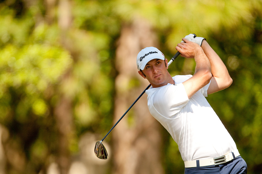 HILTON HEAD, SC - APRIL 17:  Dustin Johnson hits his tee shot during the second round of the 2009 Verizon Heritage in Hilton Head, South Carolina at Harbour Town Golf Links on Friday, April 17, 2009. (Photograph by Darren Carroll) *** Local Caption *** Dustin Johnson