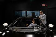 Maranello, Ferrari HMI, HMI & Ergonomics<br /> team members monitoring<br /> feedback while they carry out<br /> performance tests on the<br /> Maranello simulat