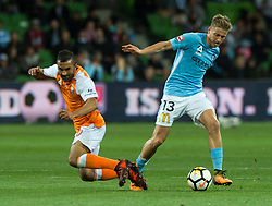 October 6, 2017 - Melbourne, Victoria, Australia - Melbourne, Victoria, Australia - Fahid Ben Khalfallah (#14) of Brisbane Roar and Stefan Mauk (#13) of Melbourne City in action during the round 1 match between Melbourne City and Brisbane Roar at AAMI Park in Melbourne, Australia during the 2017/2018 Australian A-League season. (Credit Image: © Theo Karanikos via ZUMA Wire)
