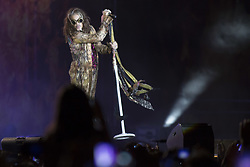 July 2, 2017 - Barcelona, Catalonia, Spain - Steven Tyler of Aerosmith during his performance at Rock Fest Barcelona 2017 Festival in Santa Coloma, Spain on July 02, 2017  (Credit Image: © Miquel Llop/NurPhoto via ZUMA Press)