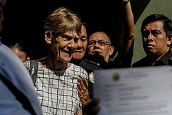 April 17, 2018 - Manila, Philippines - Australian nun Sister PATRICIA FOX is released from custody at the Bureau of Immigration in Manila, Philippines. Fox was detained for engaging in political activities and anti-government demonstrations. She was later released for further investigation after establishing valid missionary documents. (Credit Image: © Basilio H. Sepe via ZUMA Wire)