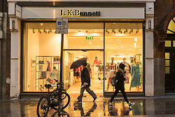 © Licensed to London News Pictures. 07/03/2019. LONDON, UK.  People walk by the LK Bennett store in Covent Garden.  LK Bennett, a chain of high-end women's clothing stores, has announced that it has called in EY as administrators after being unable to secure financing.  The brand is reported to be a favourite of the Duchess of Cambridge.  Photo credit: Stephen Chung/LNP