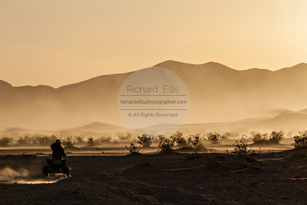ATV rider runs the sand dunes of Amargosa Valley State Park, NV.