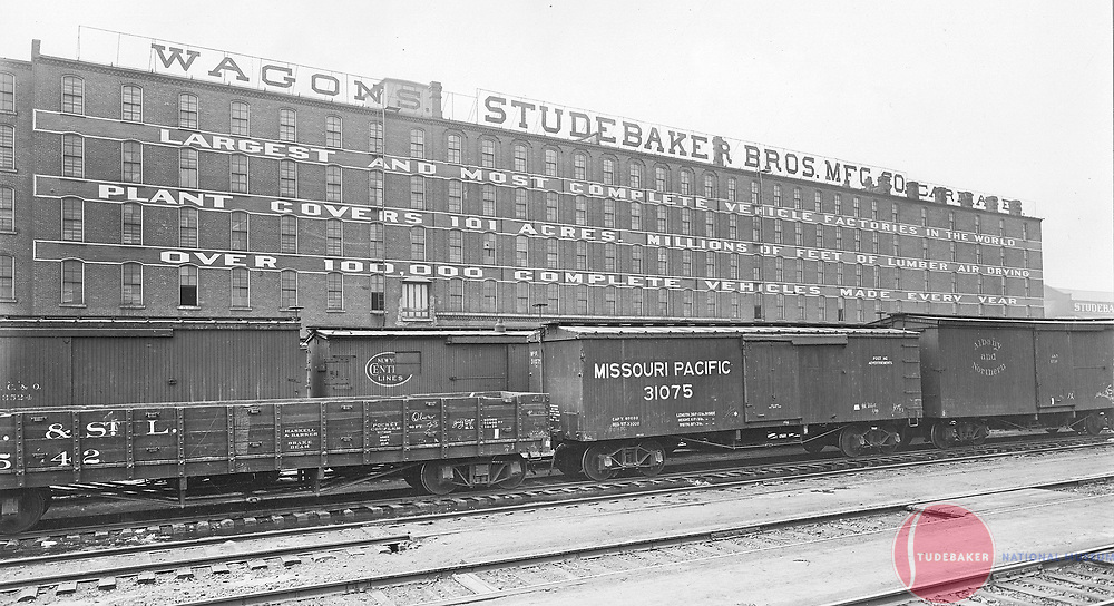 """Studebaker's South Bend plant, """"Largest and Most Complete Vehicle Factories in the World"""" c. 1900."""