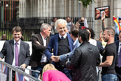 © Licensed to London News Pictures. 09/06/2018. London, UK. GEERT WILDERS at a demonstration in support of EDL founder Tommy Robinson ( real name Stephen Yaxley-Lennon ) on Whitehall , following Robinson's conviction for Contempt of Court . Robinson was already serving a suspended sentence for Contempt of Court over a similar incident , when he was convicted on Friday 25th May 2018 . Photo credit: Joel Goodman/LNP