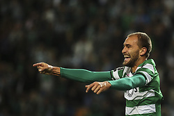 October 22, 2017 - Lisbon, Portugal - Sporting's forward Bas Dost celebrates after scoring a goal during the Portuguese League  football match between Sporting CP and Chaves at Jose Alvalade  Stadium in Lisbon on October 22, 2017. (Credit Image: © Carlos Costa/NurPhoto via ZUMA Press)