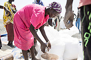 Mcc0075406 . Daily Telegraph<br /> <br /> DT Foreign<br /> <br /> <br /> Sorghum being distributed into rations at the distribution centre .<br /> <br /> Women and children walked for hours today to UN food air drop in Padeah , in a famine hit area of war torn Unity State . <br /> <br /> <br /> Padeah 1 March 2017