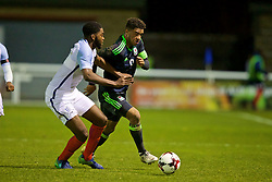 BANGOR, WALES - Saturday, November 12, 2016: Wales' captain Tyler Roberts in action against England during the UEFA European Under-19 Championship Qualifying Round Group 6 match at the Nantporth Stadium. (Pic by Gavin Trafford/Propaganda)