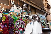 Graffiti and moped on Hosier Lane, Melbourne