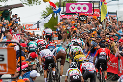 Peloton to the finish with Michal Kwiatkowski (POL) of Team Sky (GBR,WT,Pinarello) and Micheal Matthews (AUS) of Team Sunweb (GER,WT,Cervélo) during the 2019 La Flèche Wallonne (1.UWT) with 195 km racing from Ans to Mur de Huy, Belgium. 24th April 2019. Picture: Pim Nijland | Peloton Photos<br /> <br /> All photos usage must carry mandatory copyright credit (Peloton Photos | Pim Nijland)