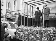 Image of Fianna Fáil leader Charles Haughey touring West Cork during his 1982 election campaign...04/02/1982.02/04/82.4th February 1982..Voice from above:..Charles Haughey putting his skills of public speaking to the test on the streets of Cork.