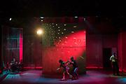 The Atlantic Theater Company World Premiere production of THE BAND'S VISIT by David Yazbek and Itamar Moses, based on the screenplay by Eran Kolirin, directed by David Cromer.  Erik Liberman, Sharone Sayegh, Bill Army & Jonathan Raviv.