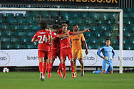 Dean Bowditch  of MK Dons © celebrates with teammates after he scores his teams 3rd goal to win the match 2-3. EFL cup, 1st round match, Newport county v Milton Keynes Dons at Rodney Parade in Newport, South Wales on Tuesday 9th August 2016.<br /> pic by Andrew Orchard, Andrew Orchard sports photography.