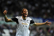 Swansea city's Michu lets his feel ings known to assistant ref as he waits to be allowed back on field after head injury.  Europa league group A match, Swansea city v FC St. Gallen at the Liberty Stadium in Swansea, South Wales on Thursday 3rd October 2013. pic by Andrew Orchard , Andrew Orchard sports photography,