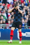 Frustration for Ante Rebić (Croatia) following his attempt at goal during the first half of the UEFA Nations League match between England and Croatia at Wembley Stadium, London, England on 18 November 2018.