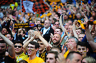 Morpeth Town fans celebrate after the FA Vase match between Hereford FC and Morpeth Town at Wembley Stadium, London, England on 22 May 2016. Photo by Mike Sheridan.