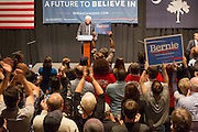 Supporters of Democratic presidential candidate Senator Bernie Sanders respond with a standing ovation during a campaign rally at the Memminger Theater February 16, 2016 in Charleston, South Carolina, USA.