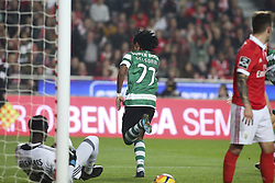 January 3, 2018 - Lisbon, Portugal - Sporting's forward Gelson Martins (C) celebrates after scoring a goal during the Portuguese League  football match between SL Benfica and Sporting CP at Luz  Stadium in Lisbon on January 3, 2018. (Credit Image: © Carlos Costa/NurPhoto via ZUMA Press)