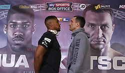 Anthony Joshua (left) and Wladimir Klitschko during a press conference at Sky Sports Studios, Isleworth.