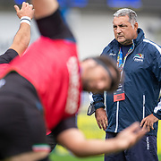 DUBLIN, IRELAND:  October 9:  Michael Bradley, head coach of Zebre, during team warm up before the Leinster V Zebre, United Rugby Championship match at RDS Arena on October 9th, 2021 in Dublin, Ireland. (Photo by Tim Clayton/Corbis via Getty Images)