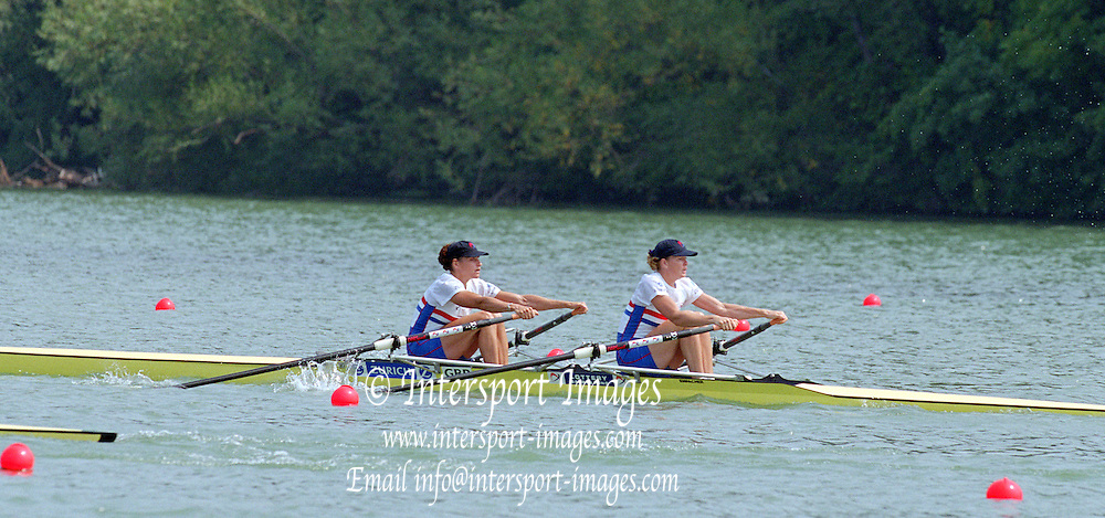 St Catherines, CANADA,  Women's Double Sculls. GBR W2X. Boow. Miriam BATTEN and Gillian LINDSAY  competing at the 1999 World Rowing Championships - Martindale Pond, Ontario. 08.1999..[Mandatory Credit; Peter Spurrier/Intersport-images]  .... 1999 FISA. World Rowing Championships, St Catherines, CANADA