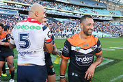 A happy Benji Marshall after the Tigers win. Wests Tigers v Sydney Roosters. NRL Rugby League. ANZ Stadium, Sydney, Australia. 10th March 2018. Copyright Photo: David Neilson / www.photosport.nz