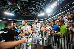 Gasper Vidmar and Miha Lapornik of Slovenia during qualifying match between Slovenia and Kosovo for European basketball championship 2017,  Arena Stozice, Ljubljana on 31th August, Slovenia. Photo by Grega Valancic / Sportida