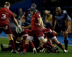 Munster's Duncan Williams kicks clear<br /> <br /> Photographer Simon King/Replay Images<br /> <br /> Guinness PRO14 Round 15 - Cardiff Blues v Munster - Saturday 17th February 2018 - Cardiff Arms Park - Cardiff<br /> <br /> World Copyright © Replay Images . All rights reserved. info@replayimages.co.uk - http://replayimages.co.uk